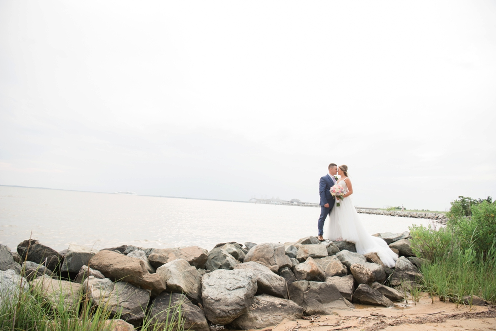 On the rocks Chesapeake Bay Beach Club wedding couple