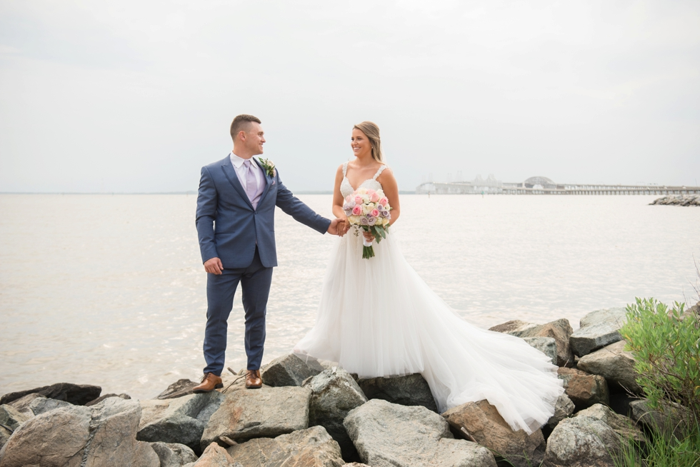 On the rocks Chesapeake Bay Beach Club wedding photographer