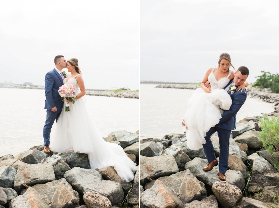 On the rocks Chesapeake Bay Beach Club wedding photographer