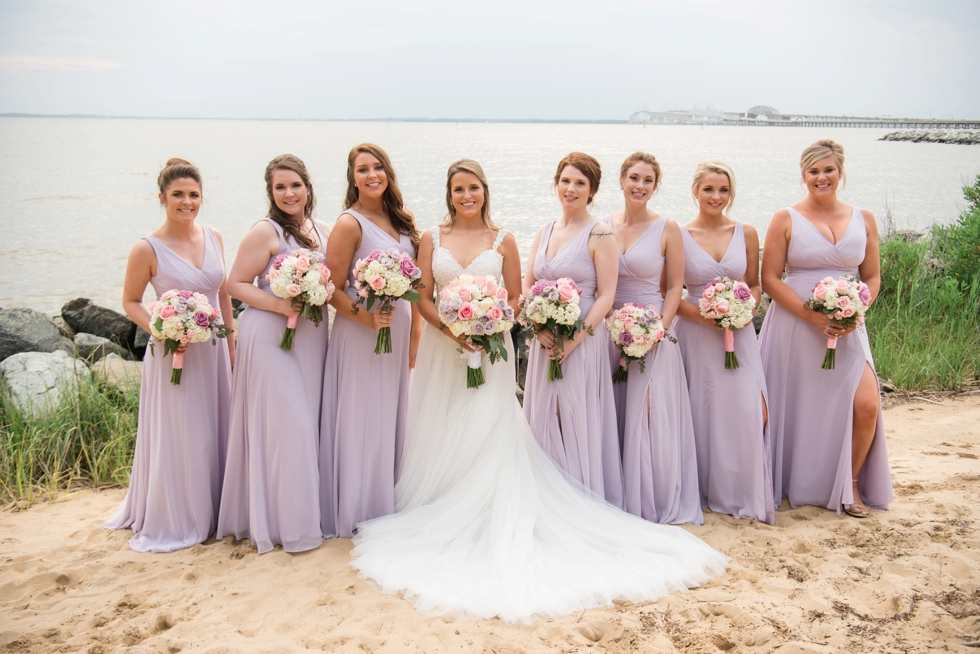 Wedding party on the eastern shore beach