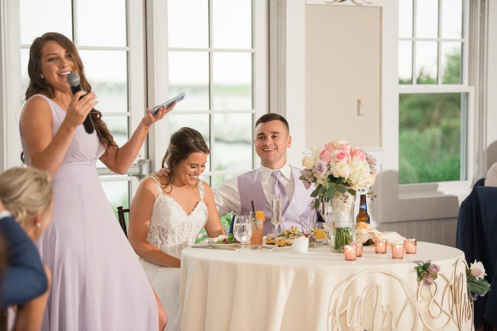 Sunset ballroom wedding toasts