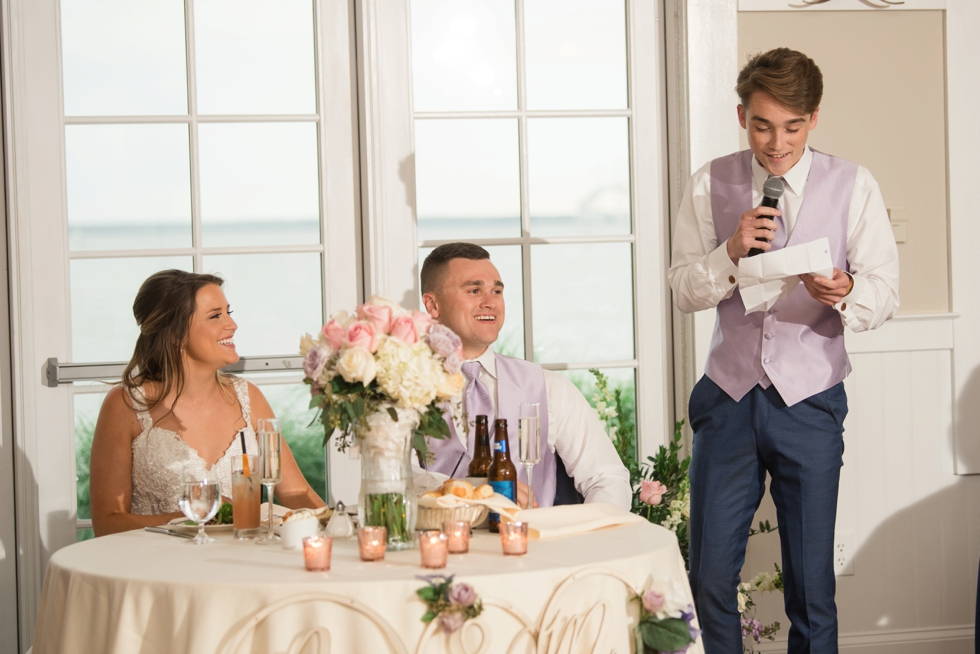 Sunset ballroom wedding reception toasts