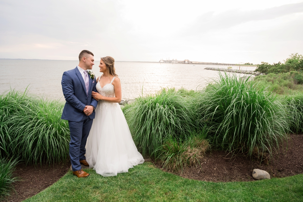 bride and groom Chesapeake Bay Beach Club sunset photos