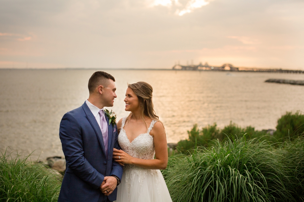 Chesapeake Bay wedding sunset photos