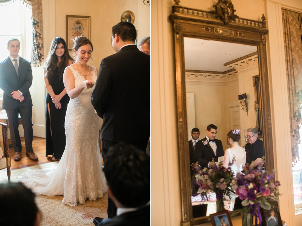 Annapolis Inn wedding ceremony in the parlor