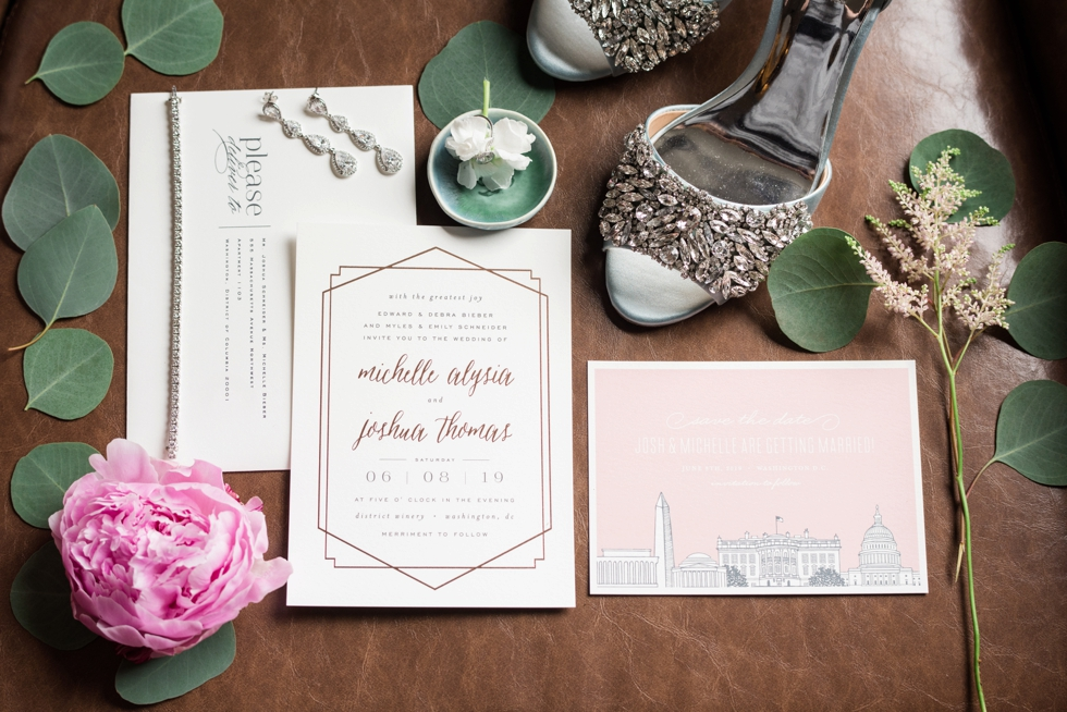 Minted Rose gold wedding invitations