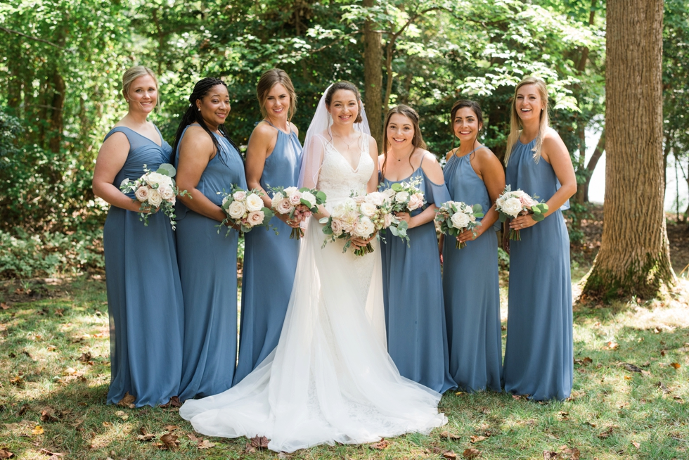 Essense of Australia wedding dress bridesmaids in blue