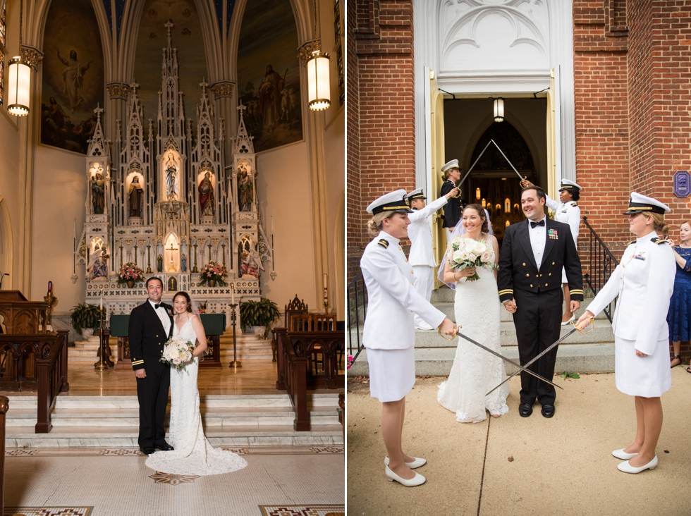 St Marys Annapolis wedding ceremony sword arch