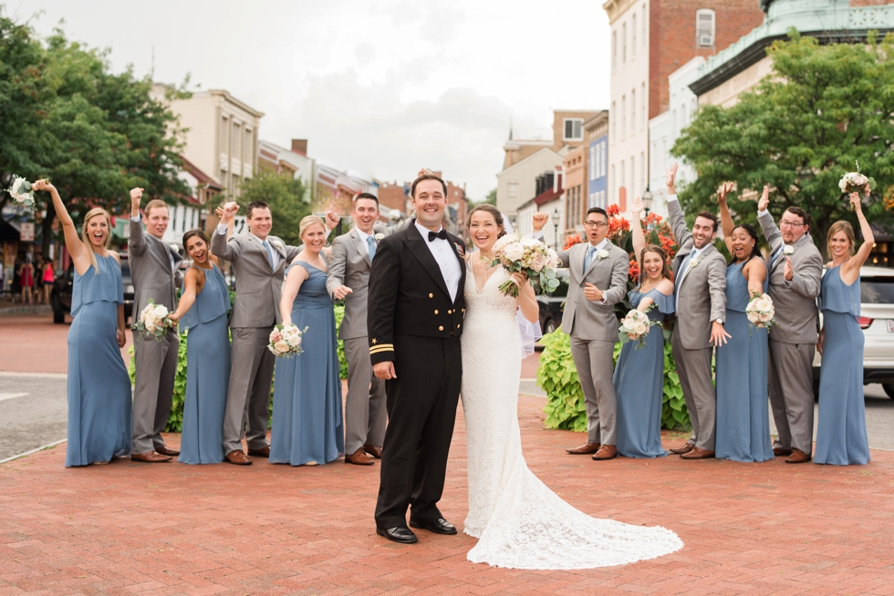 Downtown Annapolis Main street wedding photo