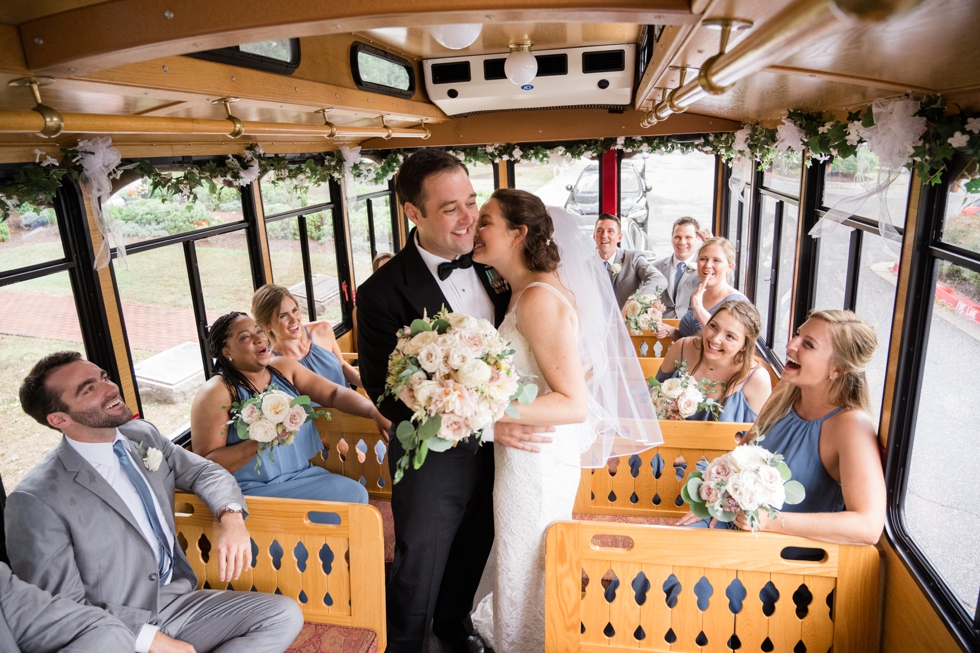 Annapolis trolley wedding party photos