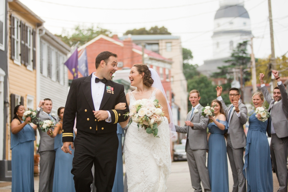 Downtown Annapolis East street wedding party photo