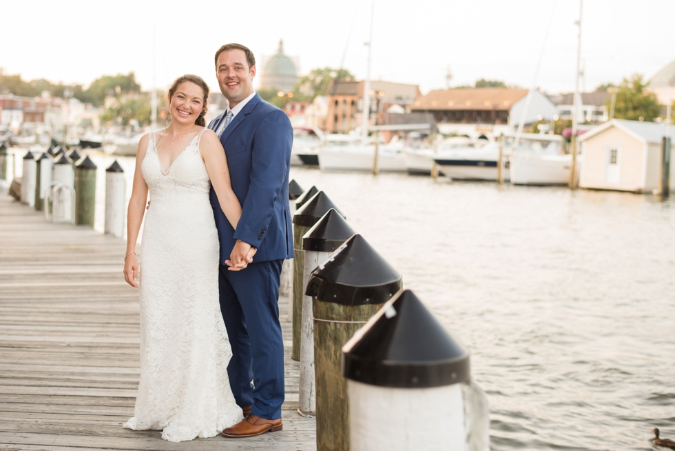 Sunset Annapolis waterfront hotel wedding couple photos