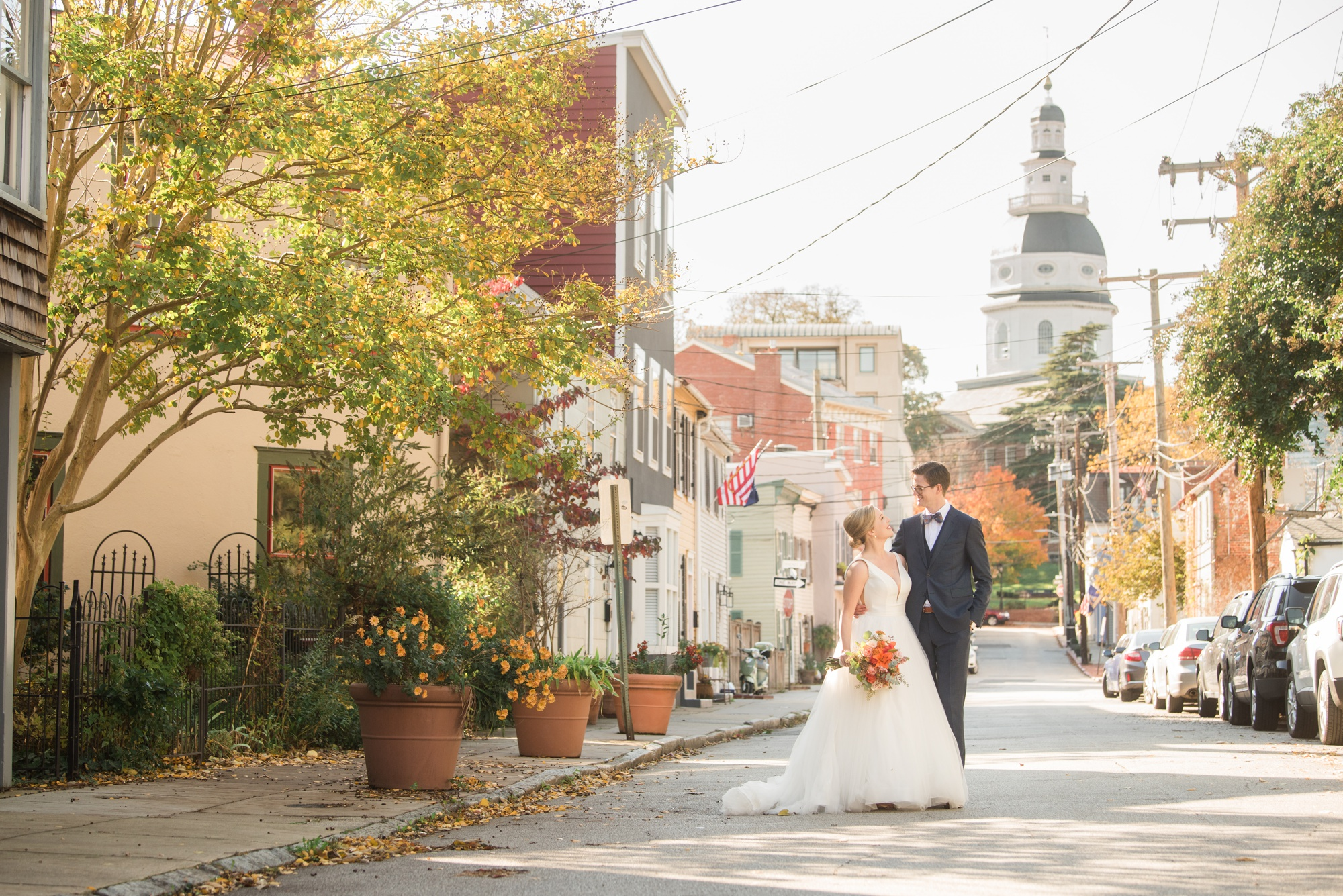 Annapolis William Paca house garden wedding photographer at State house