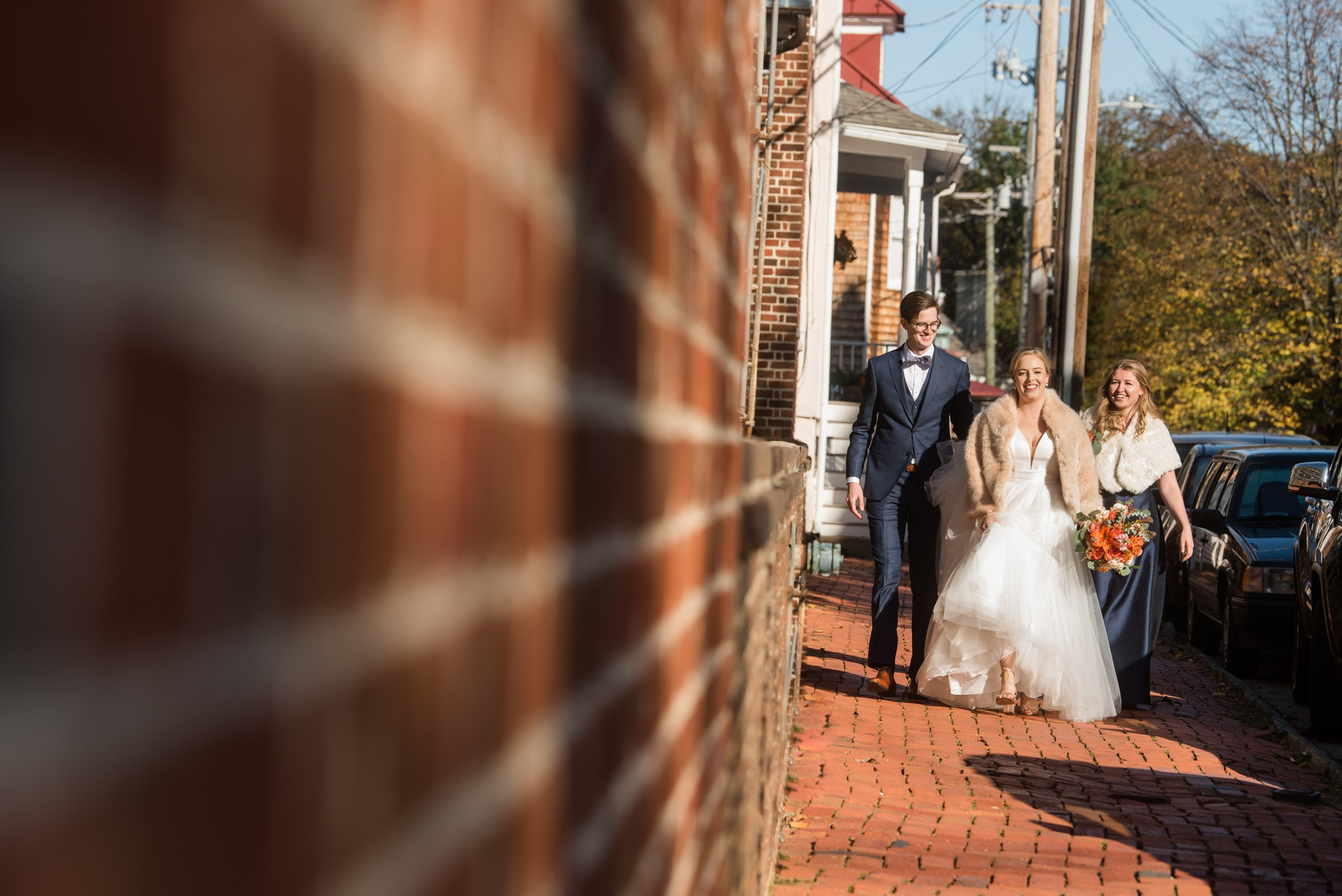 Annapolis wedding party in the street