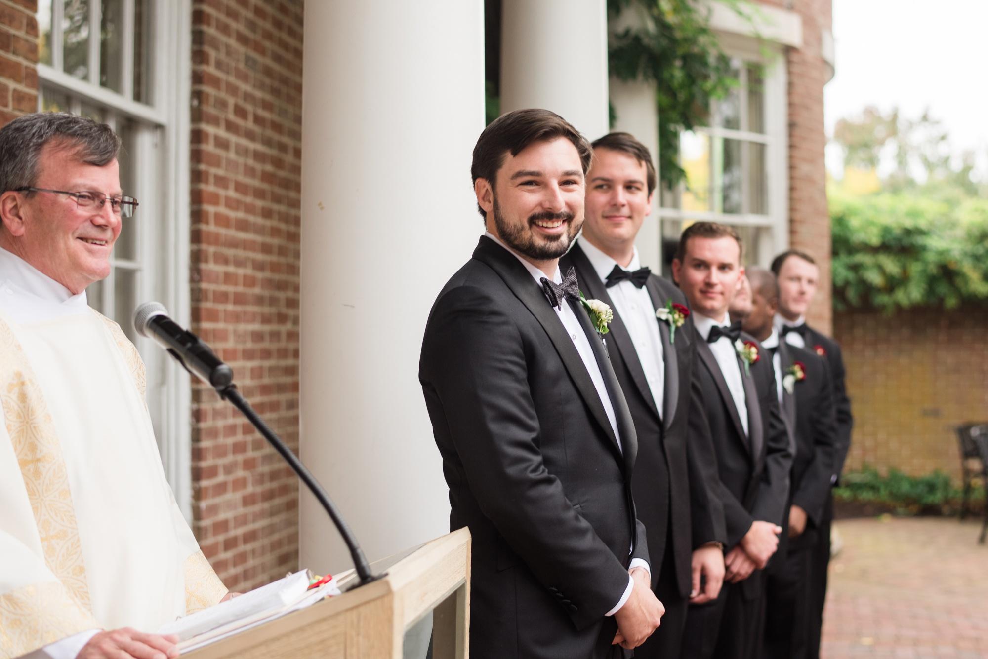groom reacts seeing his bride