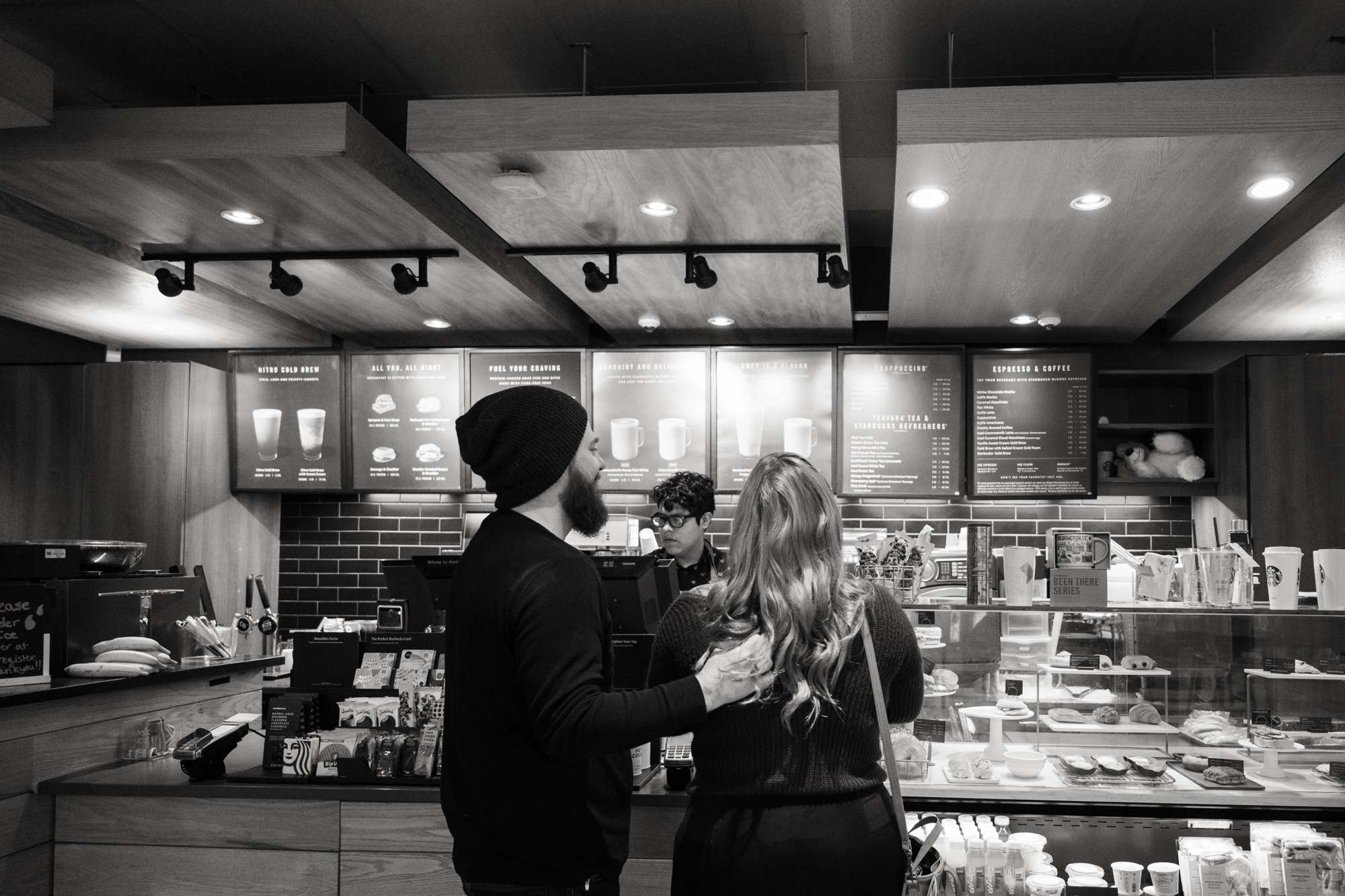 Couples one year anniversary of their starbucks first date