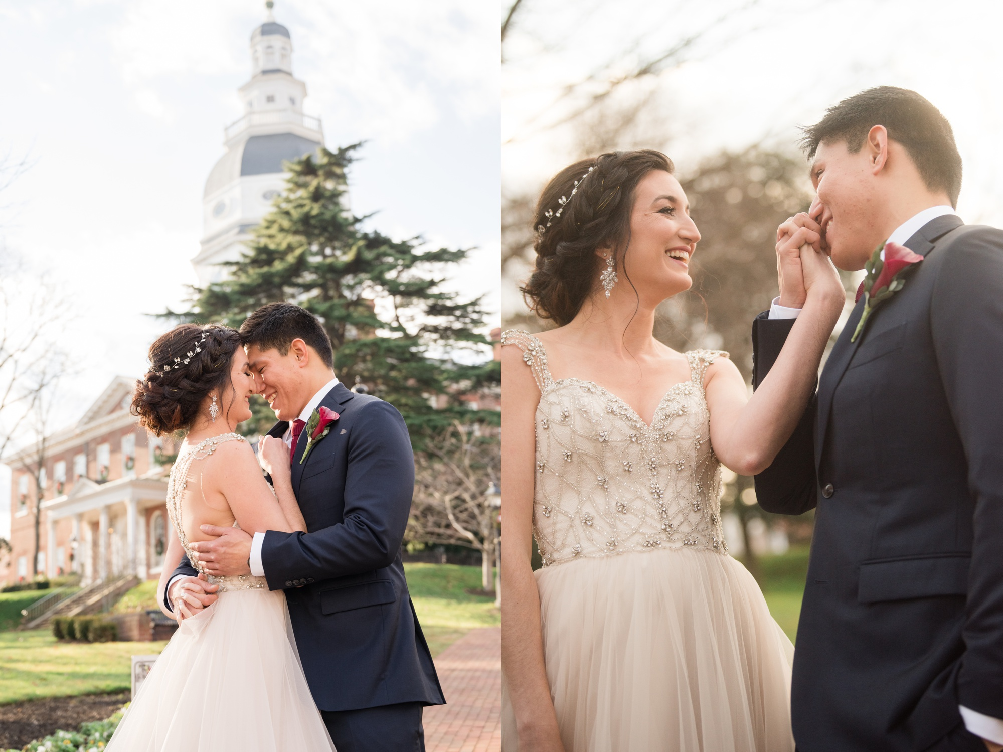 Downtown Annapolis wedding couple photos