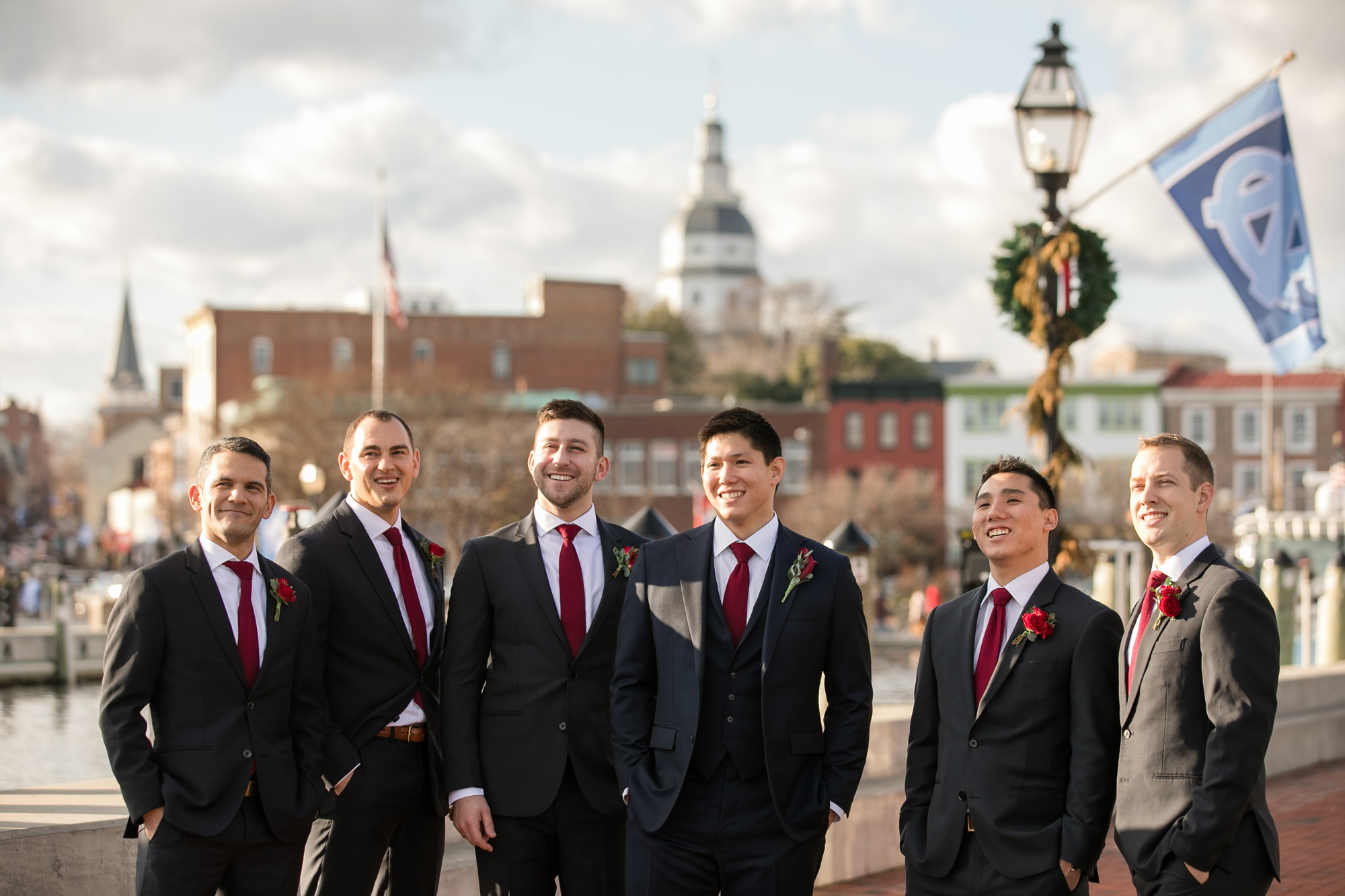 maroon Groom and groomsmen Downtown Annapolis photos