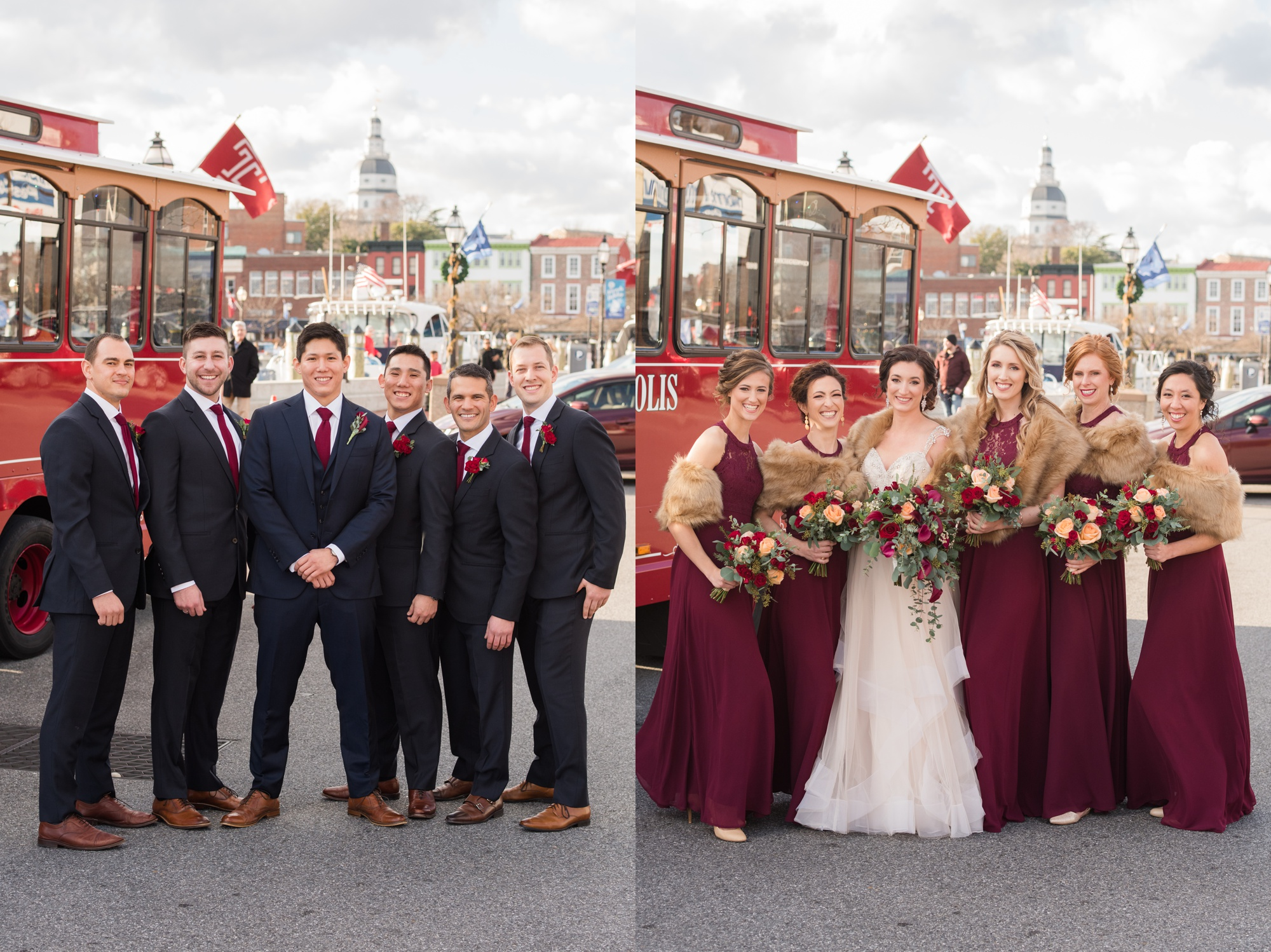 maroon bride and bridesmaid Downtown Annapolis photos