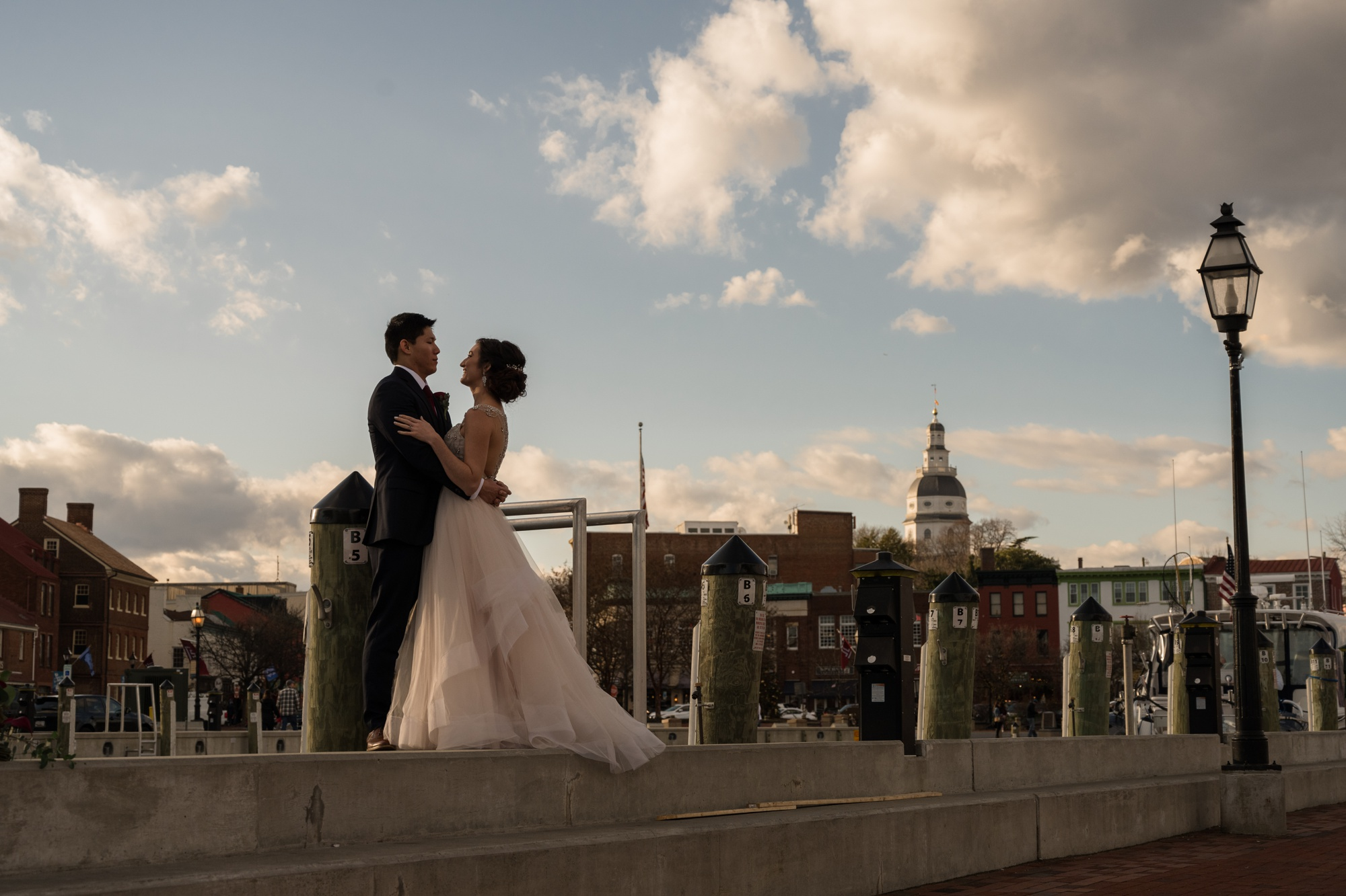 City Dock Annapolis wedding couple photography