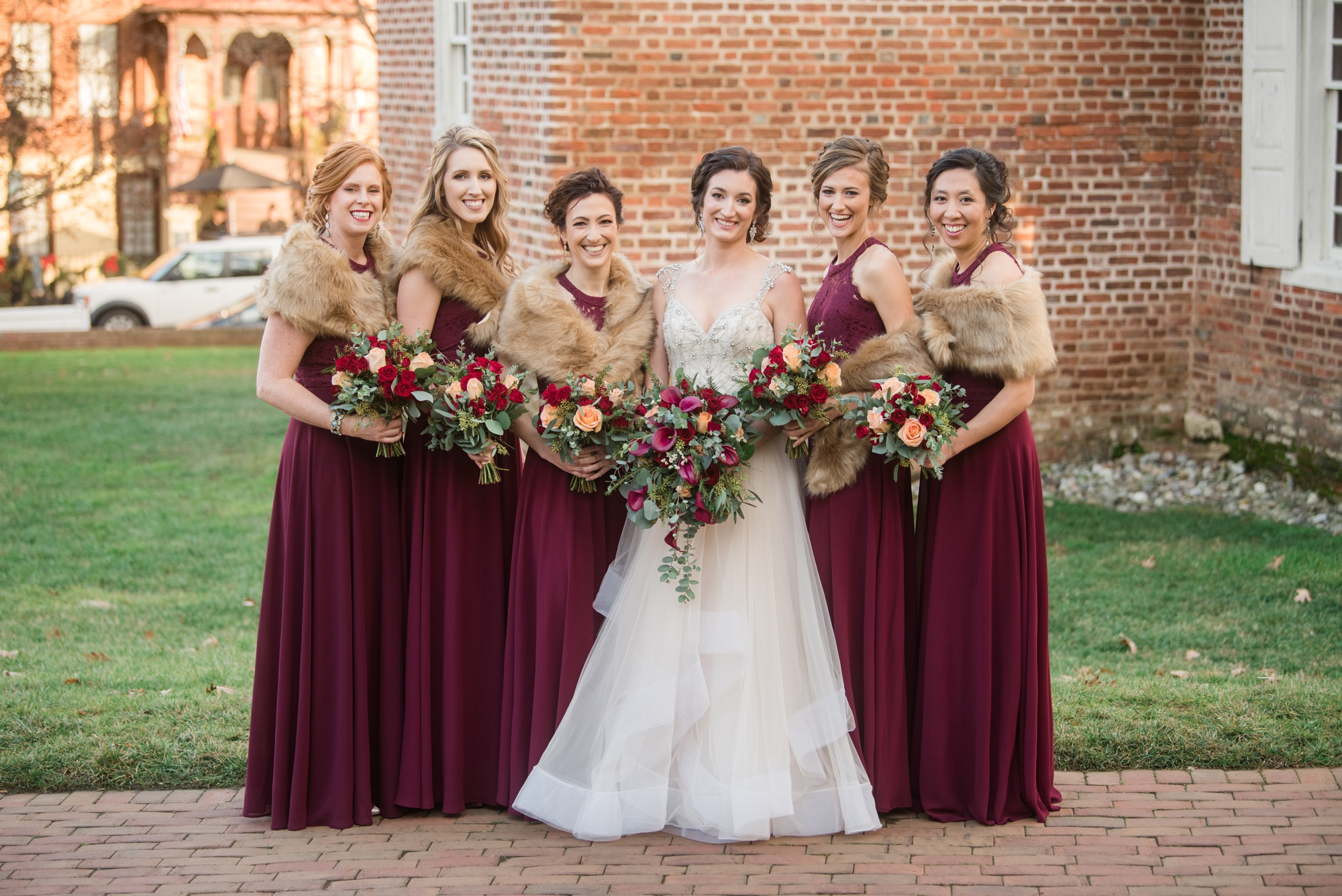 maroon bride and bridesmaid Historic Inns of Annapolis