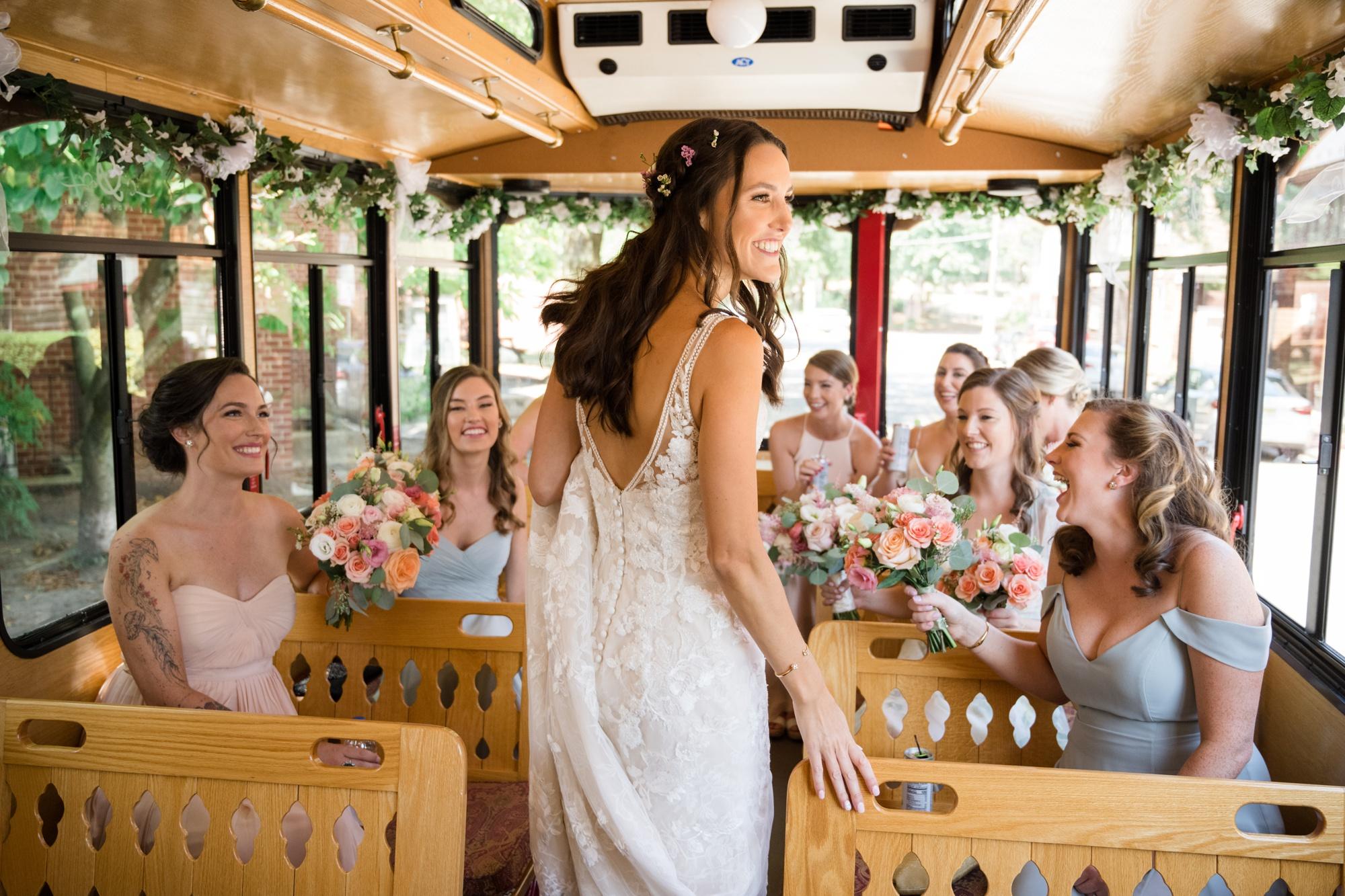 annapolis wedding bride on Trolley