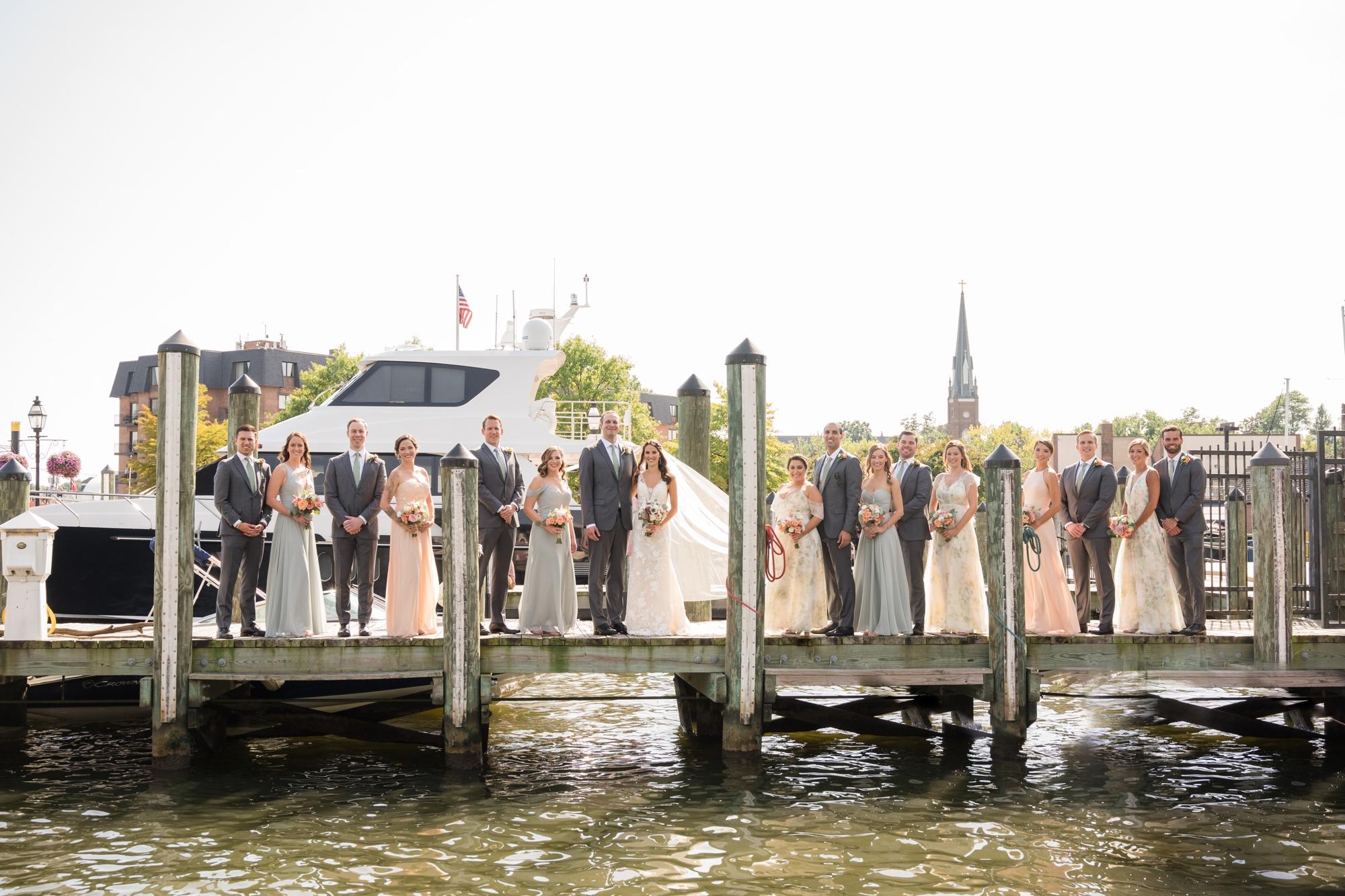 Downtown City Dock Annapolis wedding party photos