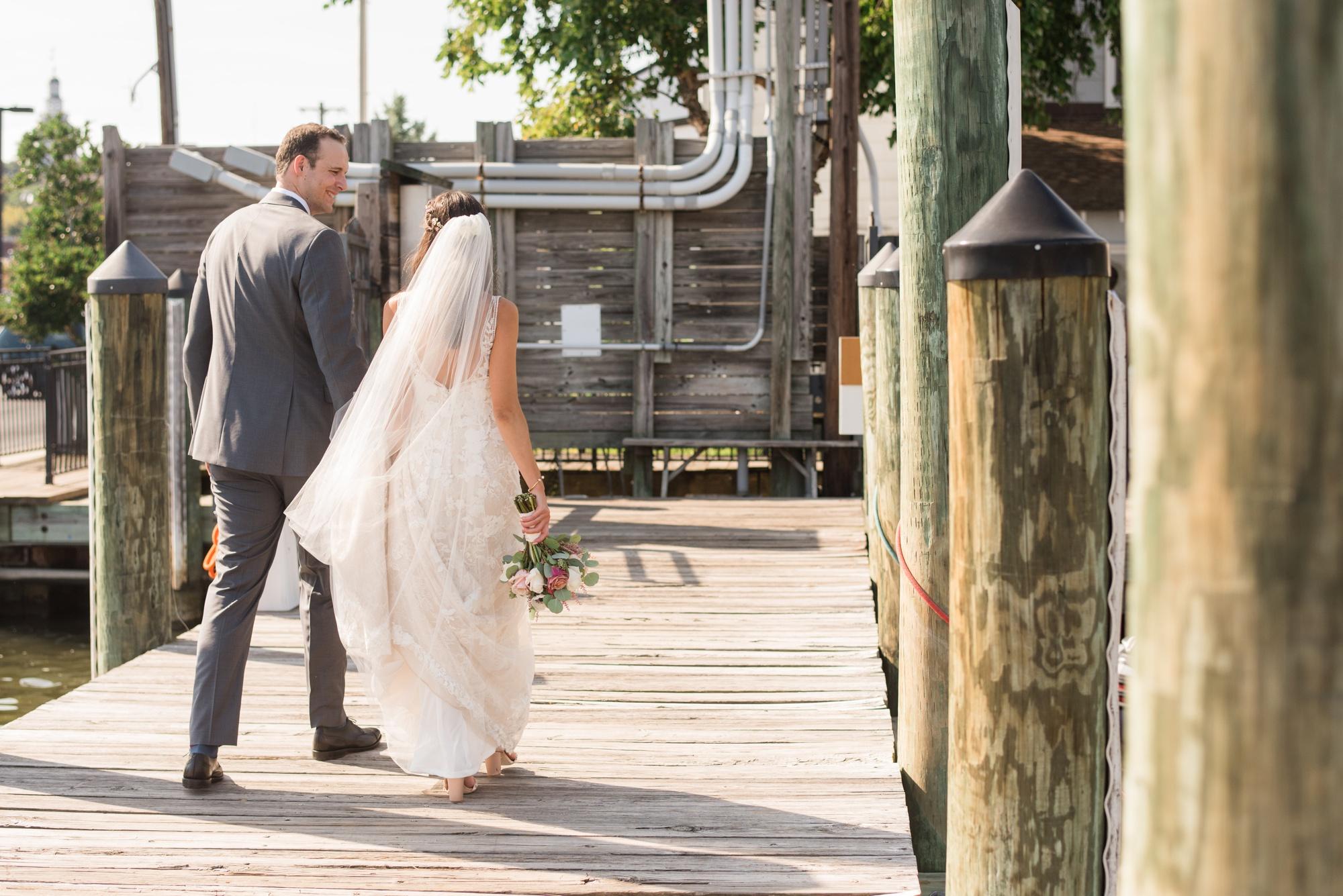 Downtown City Dock Annapolis wedding couple photos