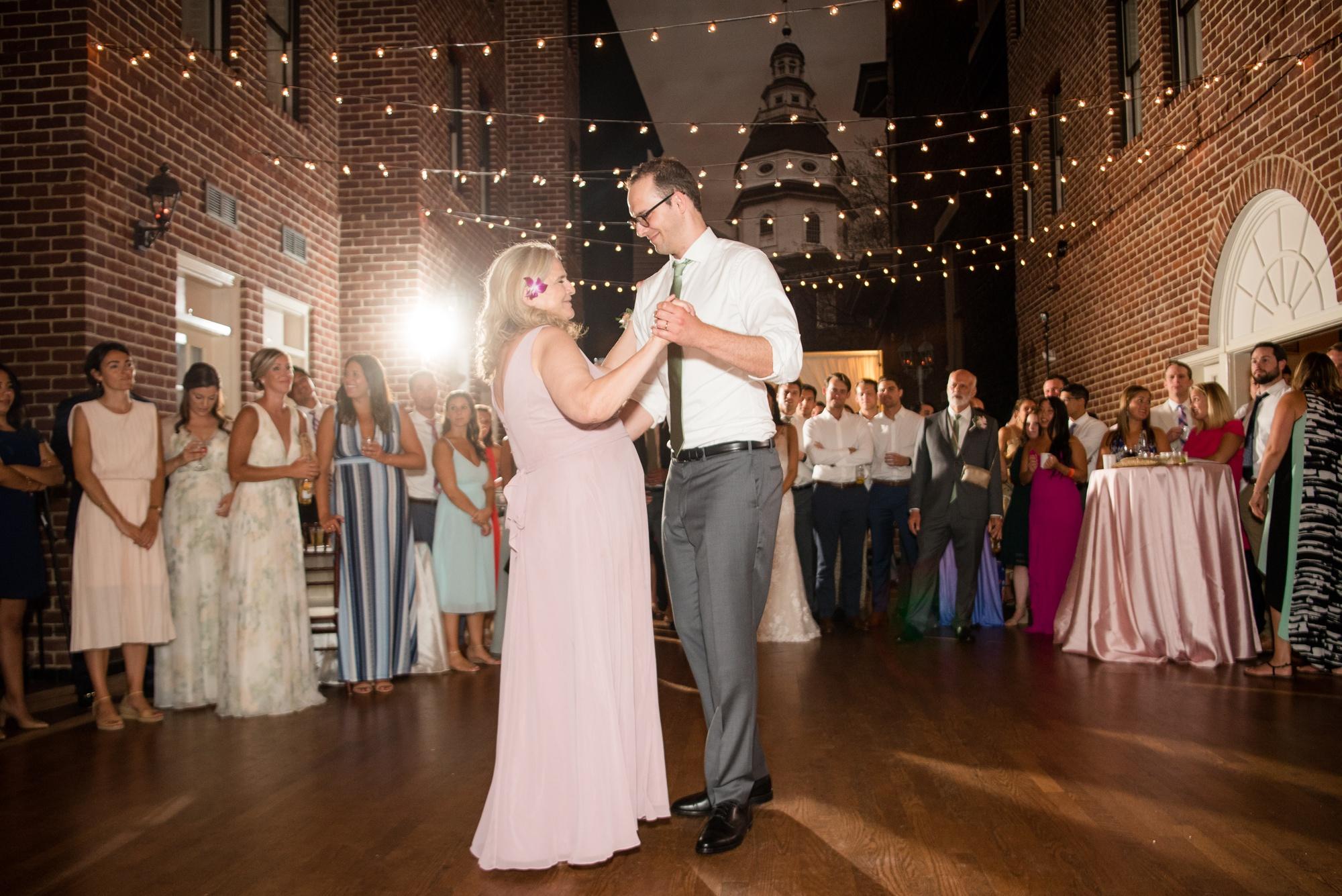 mother groom dance Governor Calvert House wedding reception