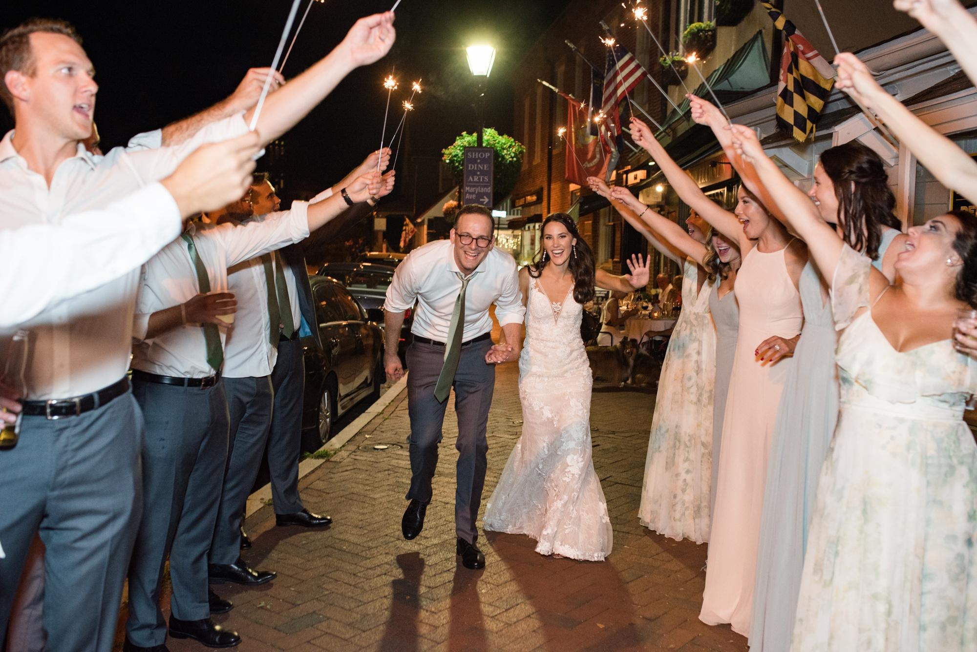 sparkler exit Governor Calvert House wedding