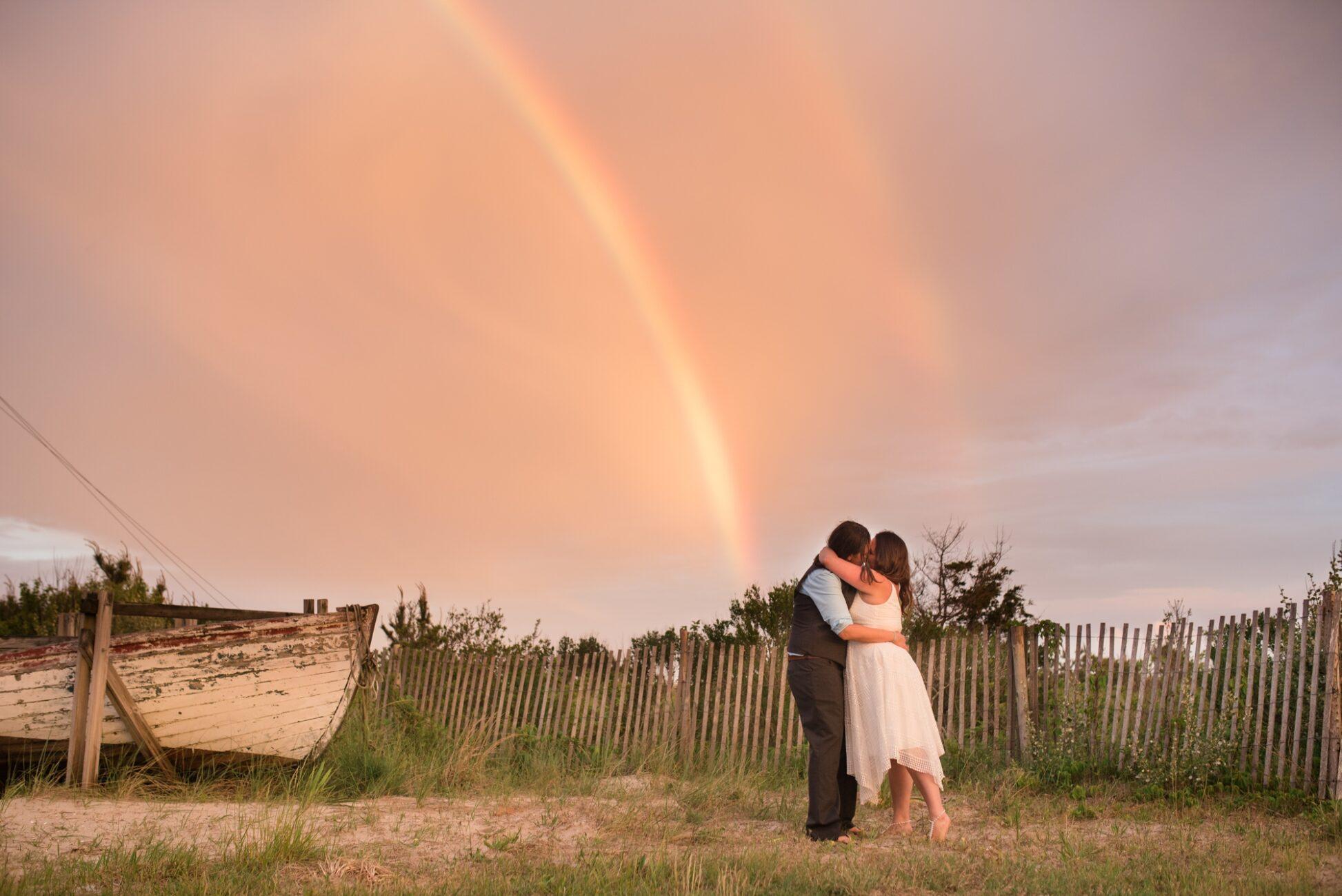 LGBTQ wedding - Double rainbow wedding photography