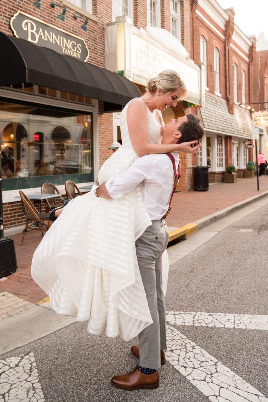 Eastern shore bride and groom Tidewater Inn