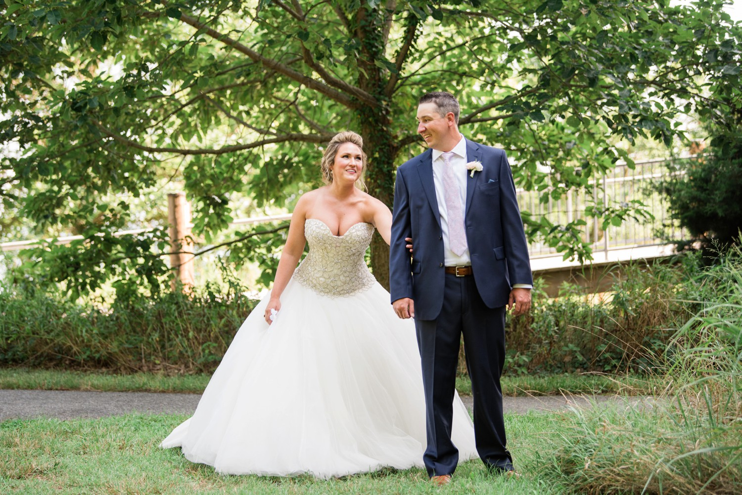 couple's first look at Chesapeake Bay Foundation Micro Wedding