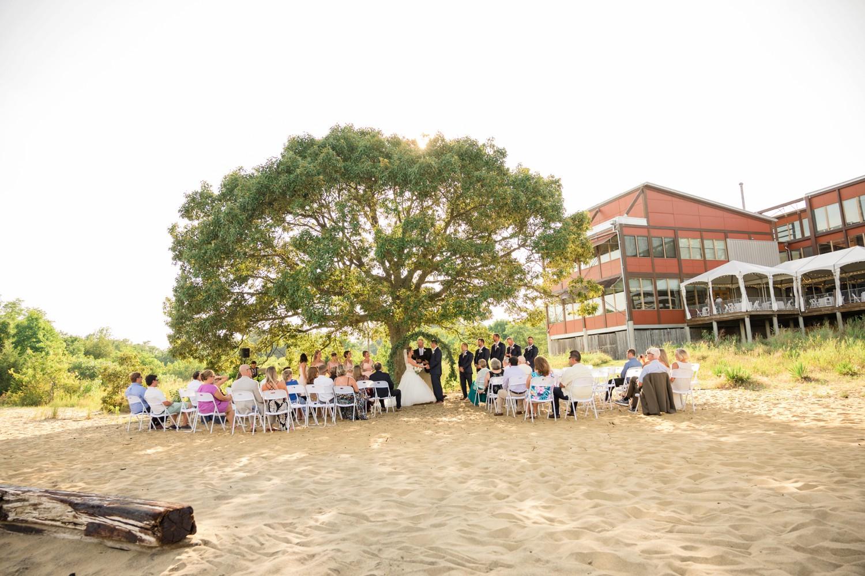 Chesapeake Bay Foundation July beach wedding ceremony