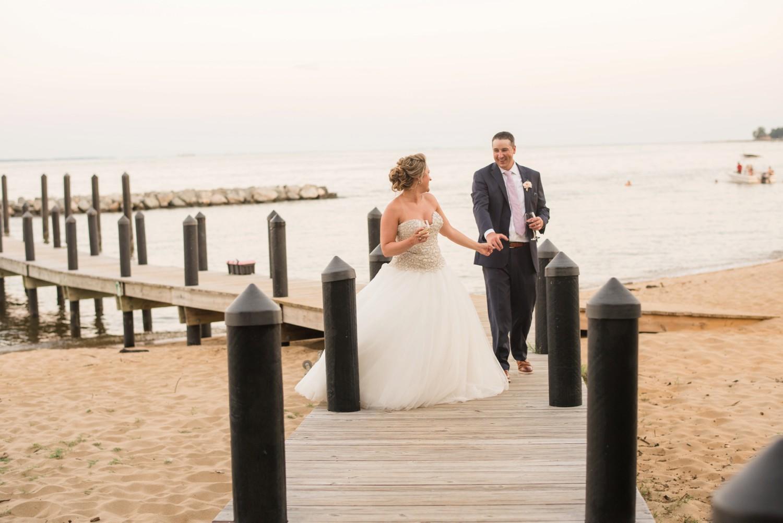 Annapolis beach wedding photos on a pier