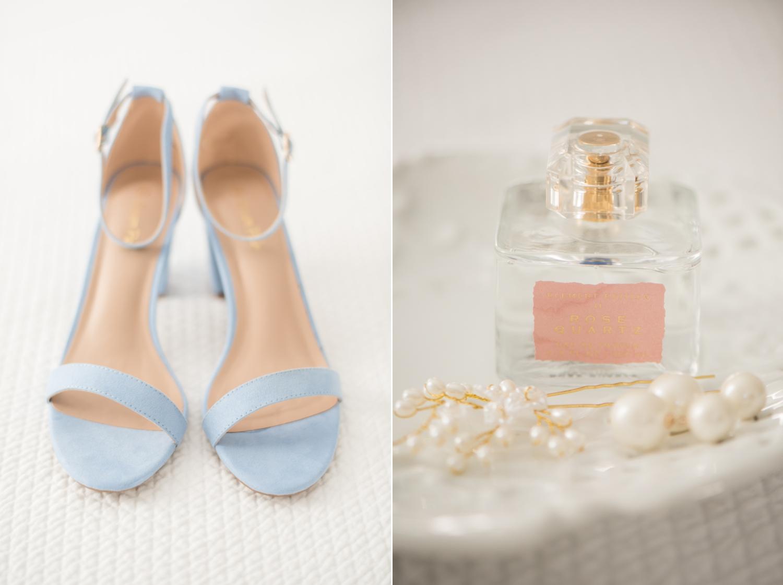 Micro wedding blue heels and perfume