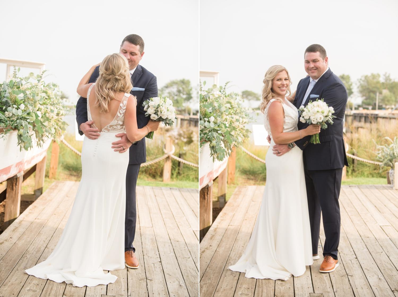Annapolis Maritime museum mini wedding couple