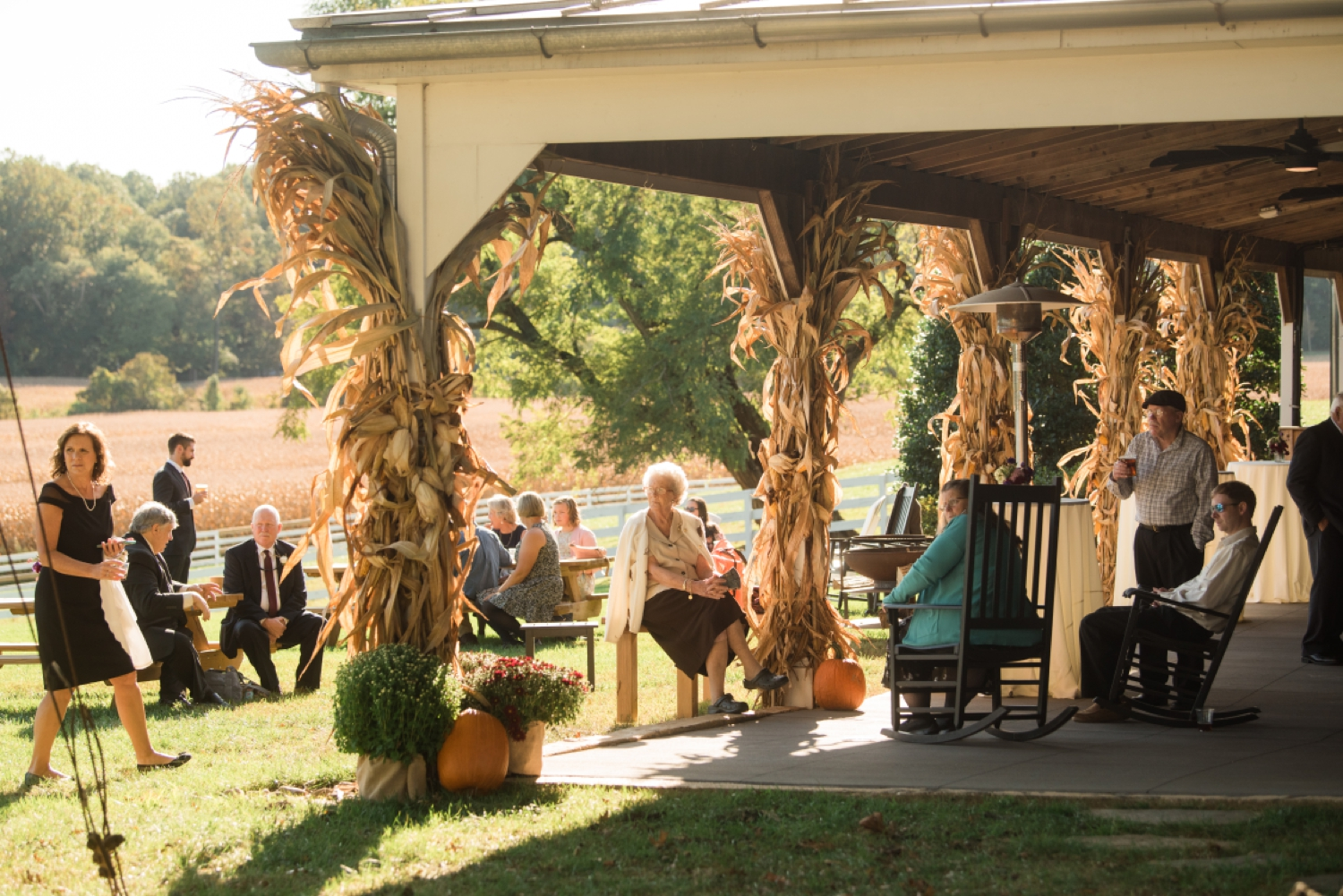Tusculum Farm micro wedding cocktail hour outside