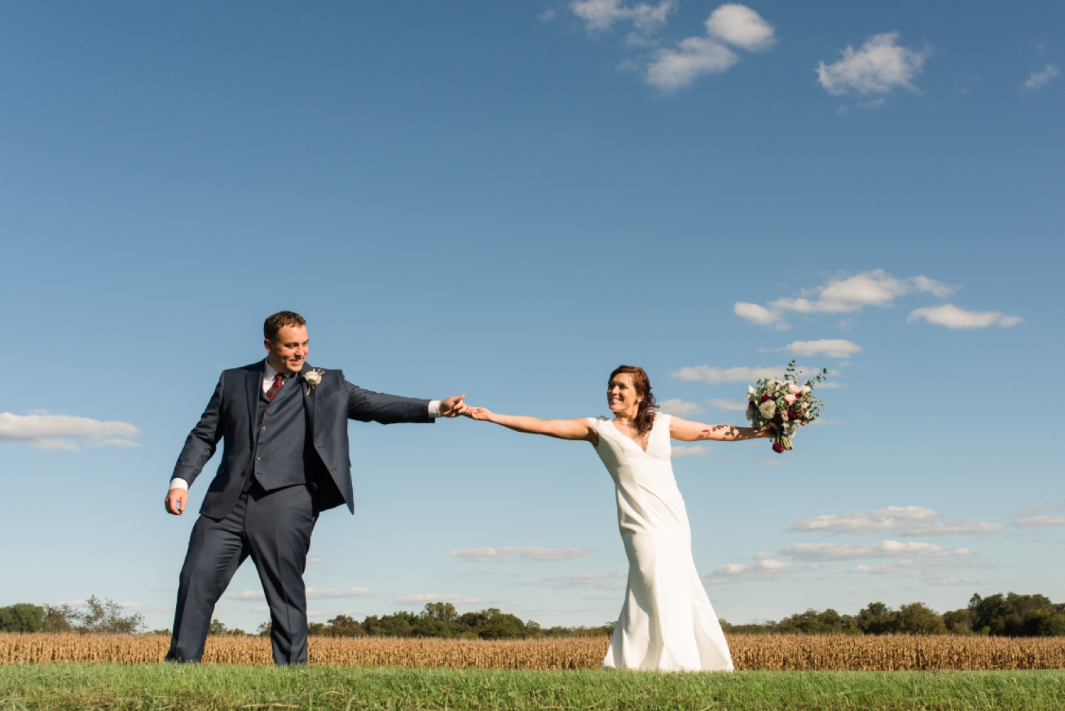 Tusculum Farm micro wedding couple photos in the field