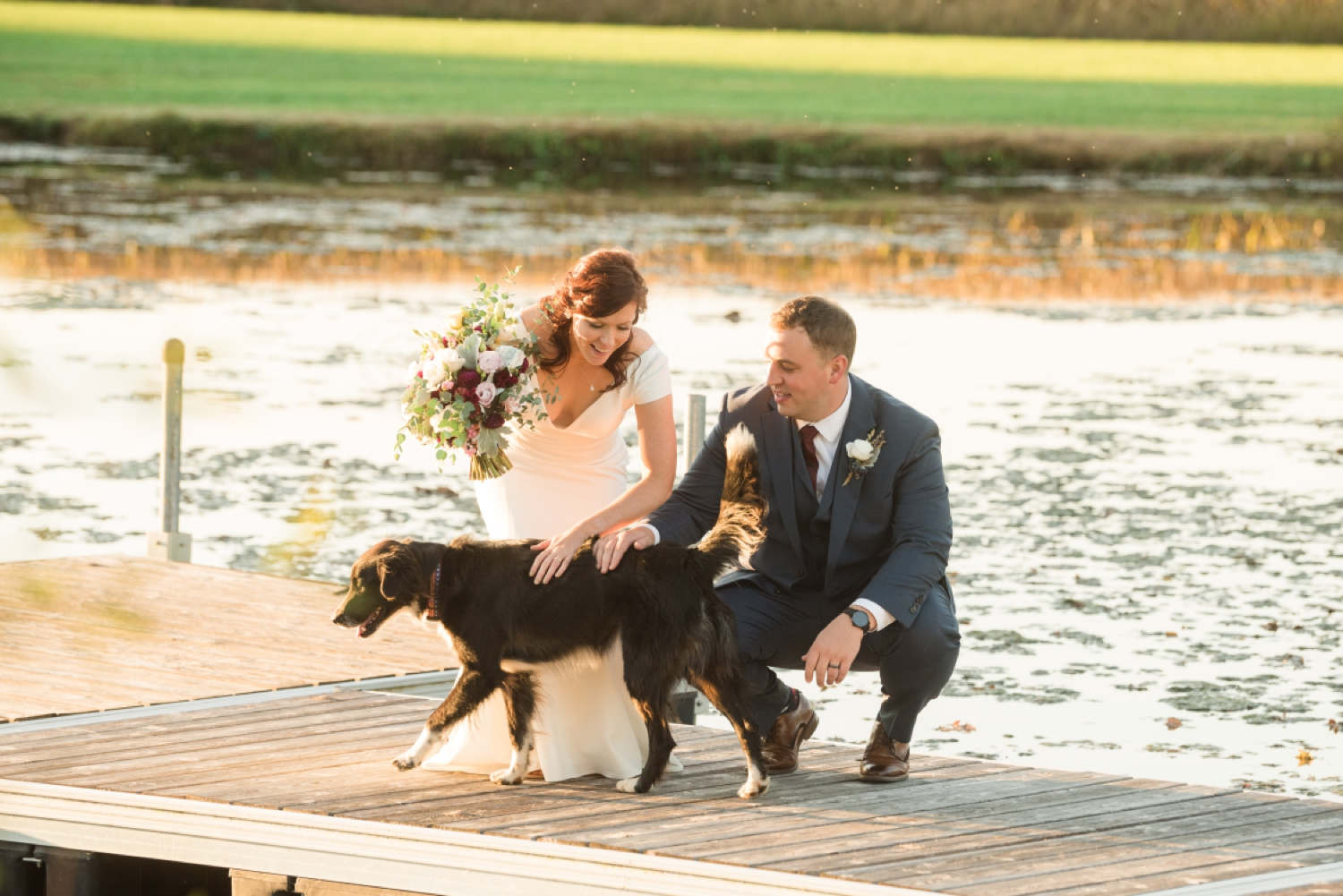 Tusculum Farm pond wedding photos with Zeus the Dog