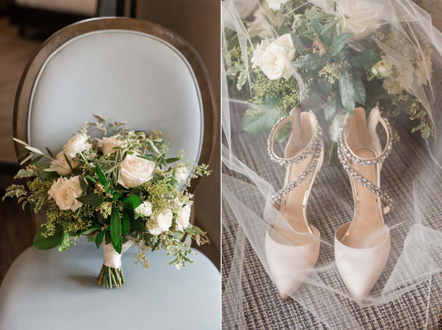 Eastern shore micro wedding green and white florals