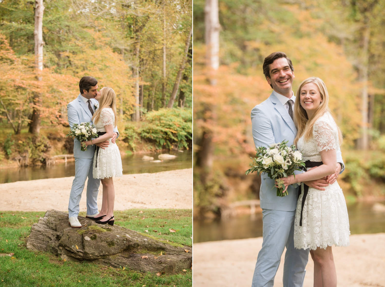 Micro wedding grooms light blue seersucker suit