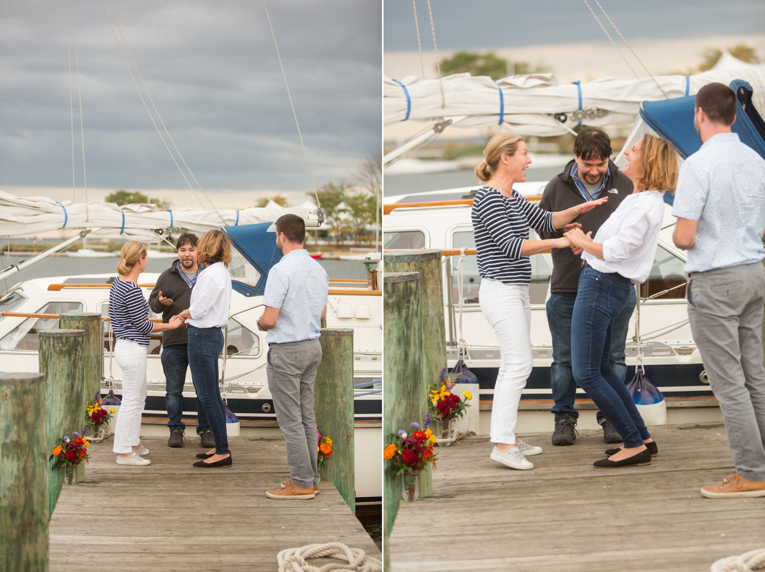 Annapolis elopement ceremony on the docks of Annapolis Maritime museum