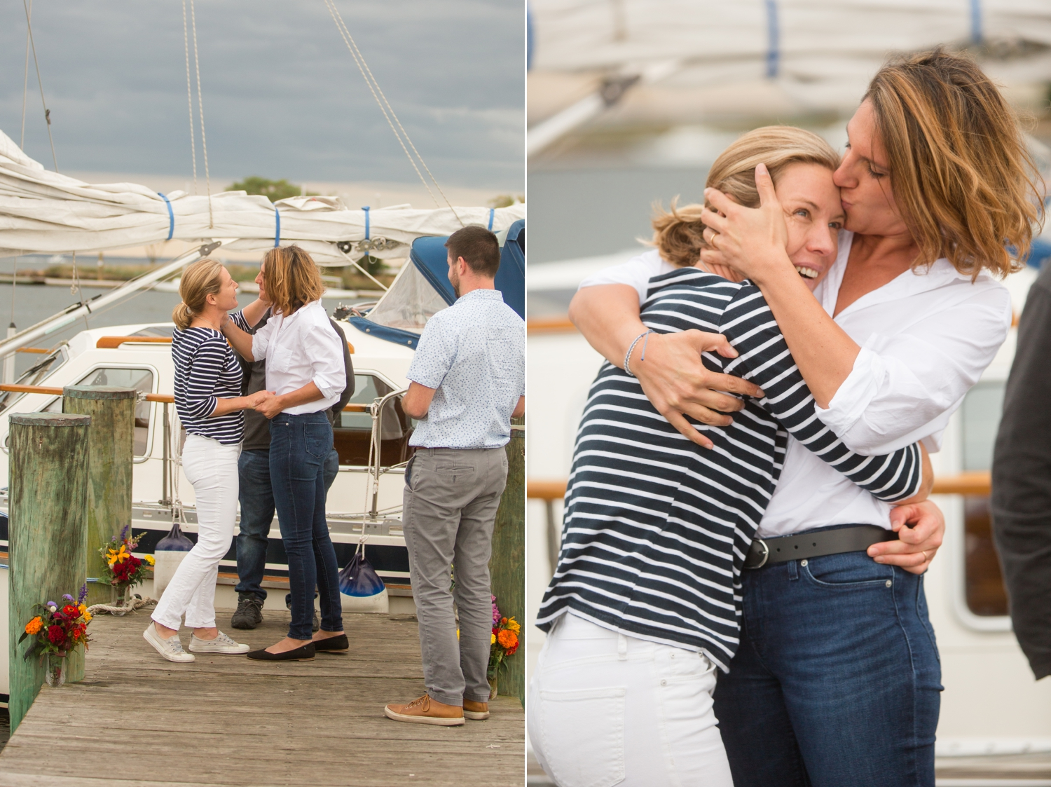 two brides kissing after their elopement ceremony on their sailboat