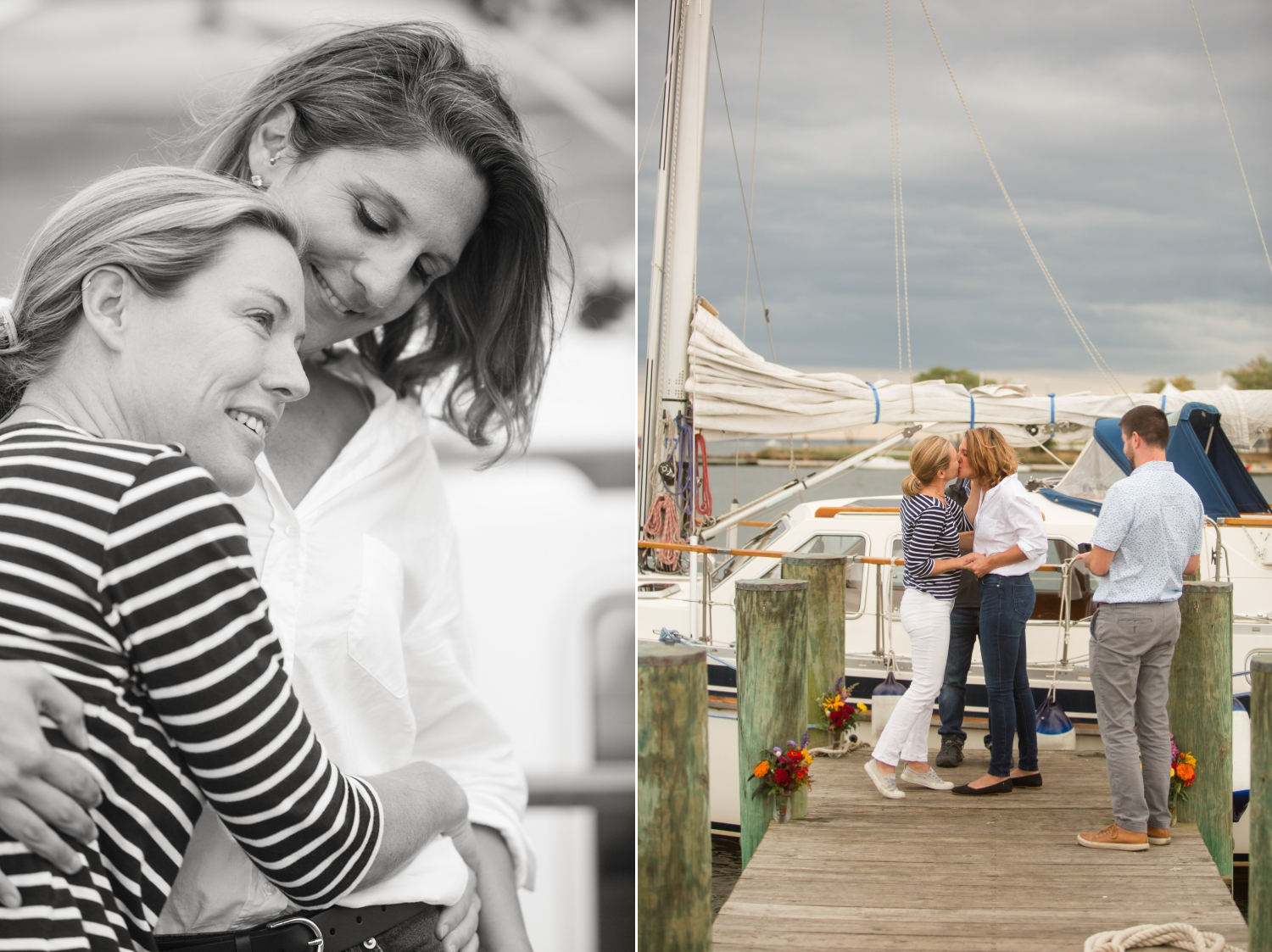 two brides seal the union elopement ceremony on their sailboat