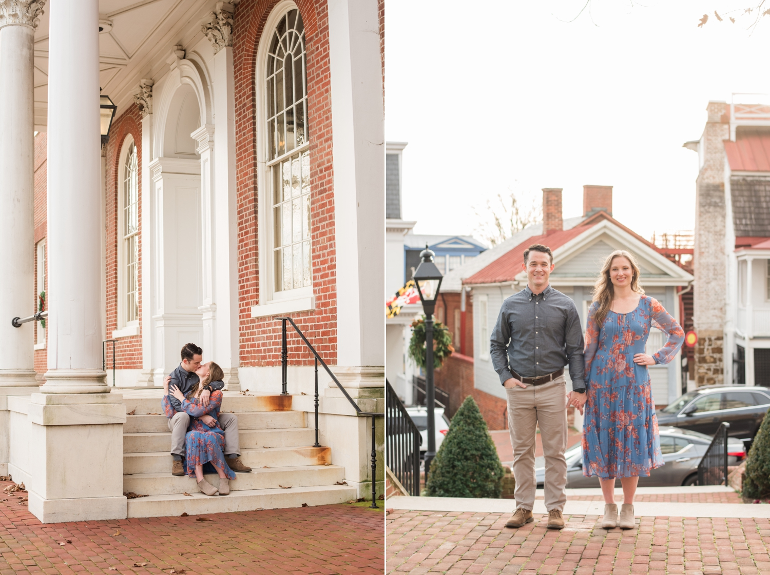 Winter State House Annapolis Engagement Photos