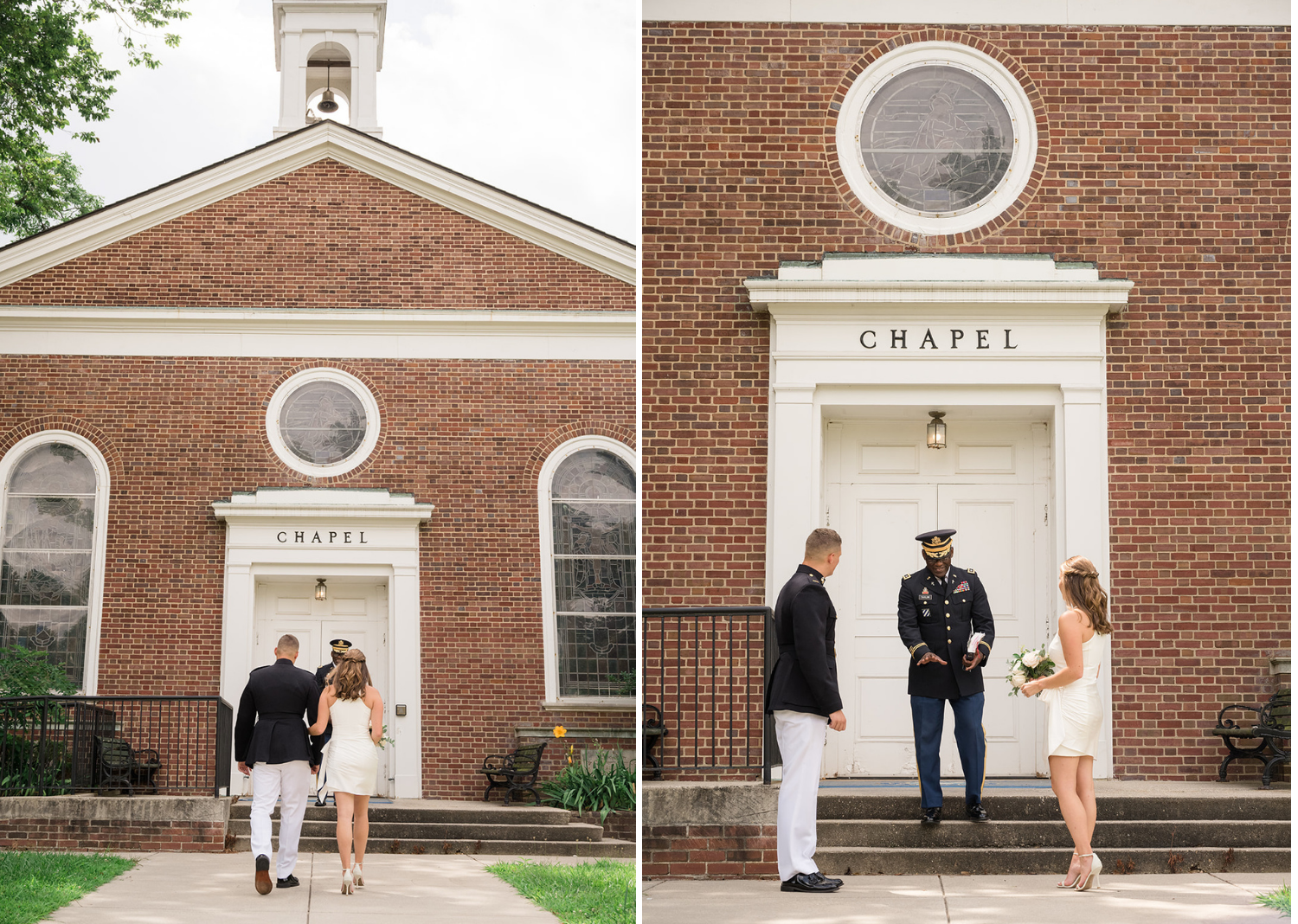 bride and groom standing in front of the chapel for their elopement