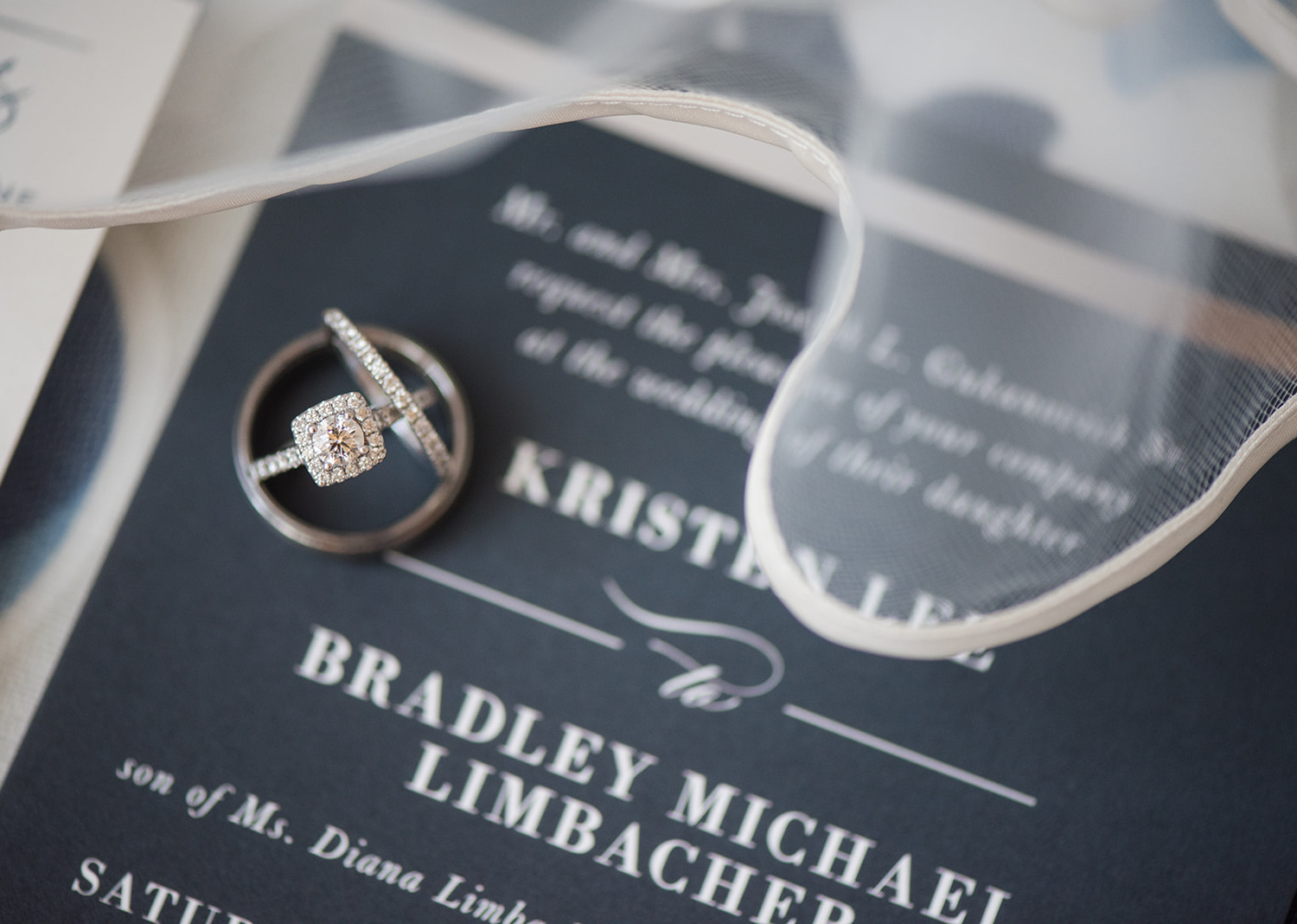 wedding ring photographed with the wedding invites
