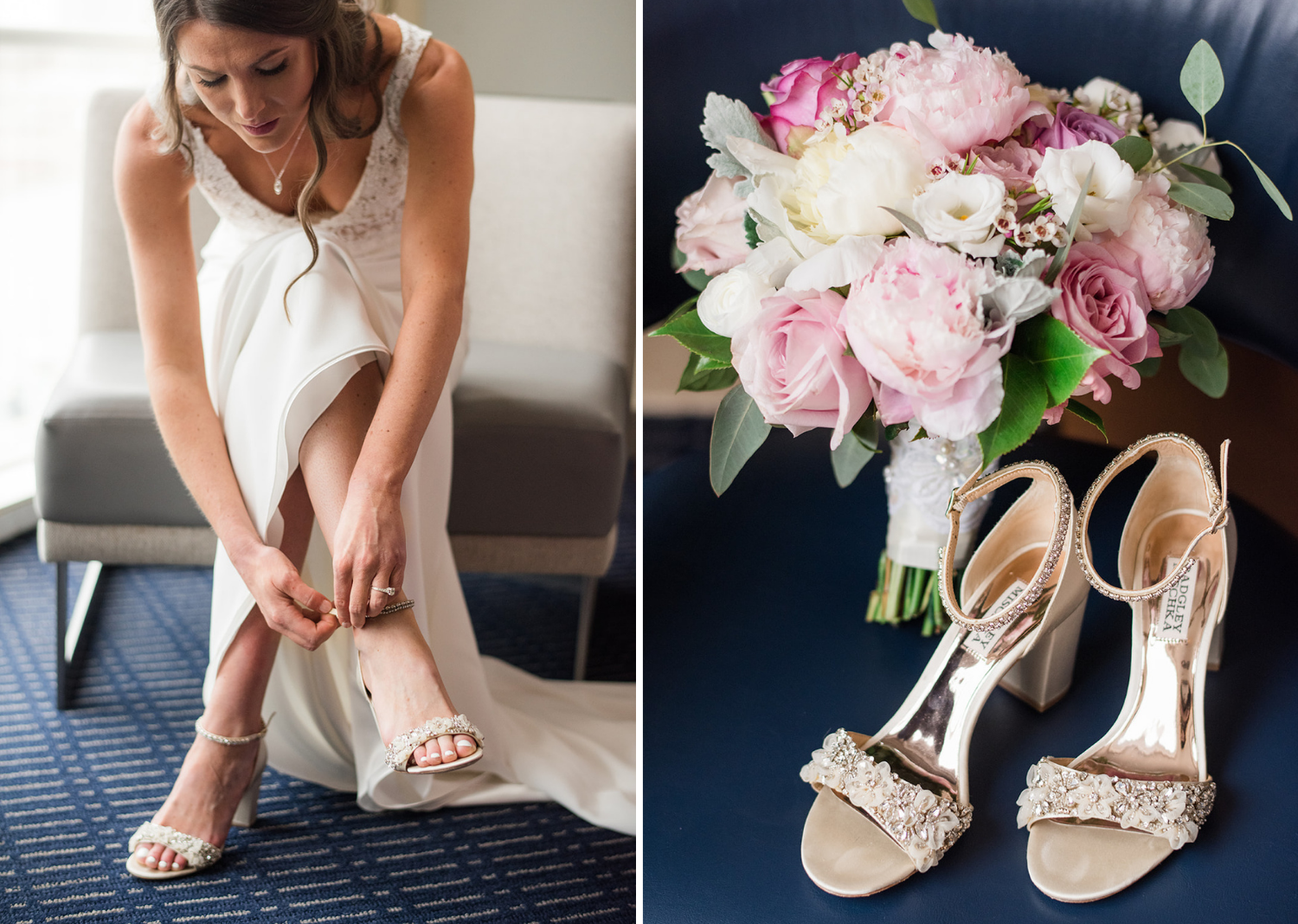 bride putting on her wedding shoes and a photo of her wedding day shoes along with her bridal bouquet