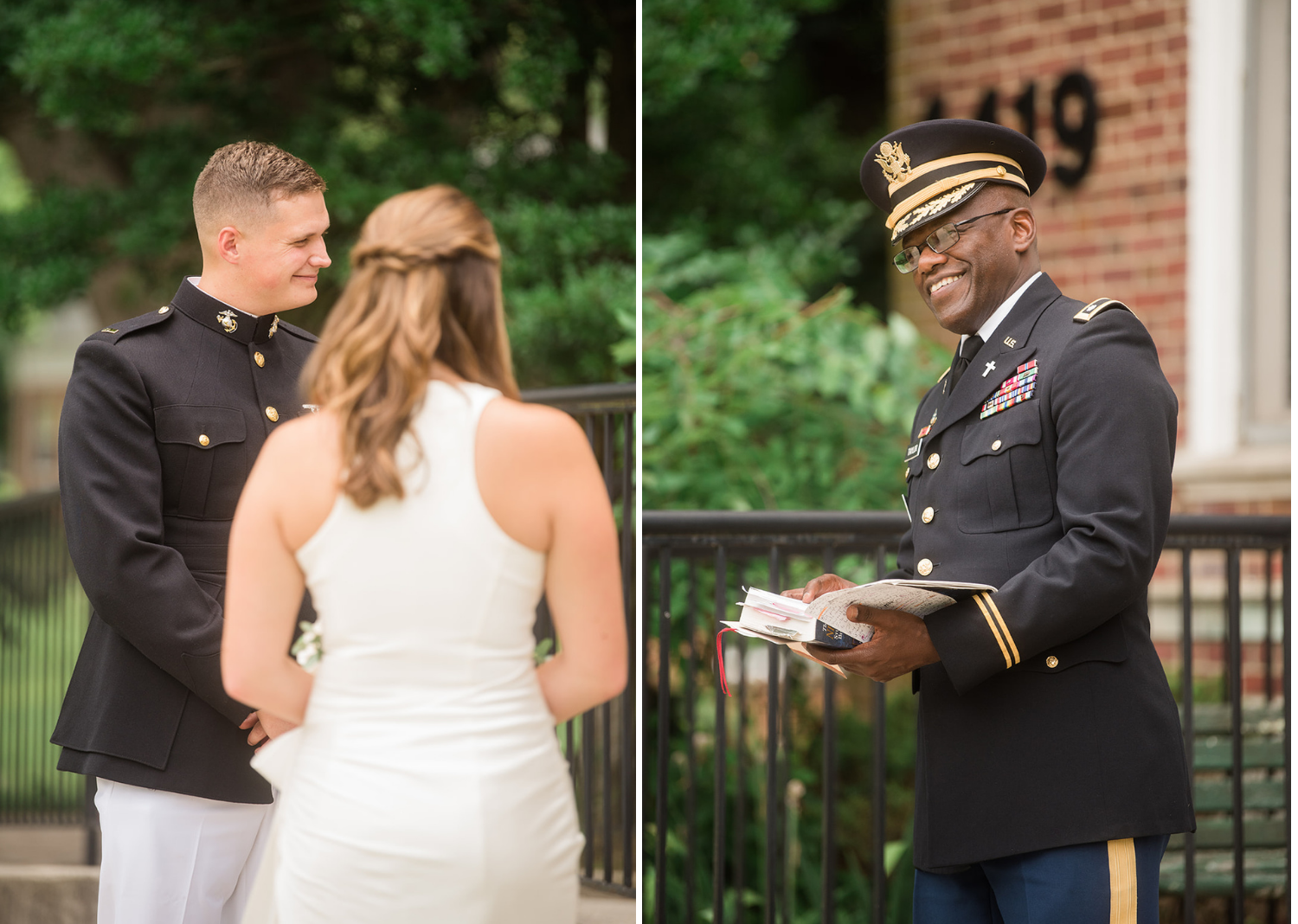 bride and groom smile along with their reverend as they listen to their elopement speech